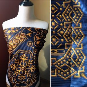 Vintage silky polyester navy gold large scarf